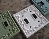 Switch Plate/Double Switch Plate/ Pick Your Color Switch Plate Cover/ Shabby Chic Switch Cover/ Cast Iron Switch Cover