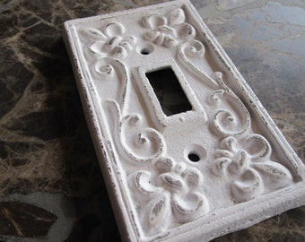 Switch Plate/Single Switch Plate/ White Light Switch Plate Cover/ Shabby Chic Switch Cover/ Cast Iron Switch Cover