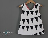 Modern Bunting Sweet  pinafore 12m 2t 3t 4/5t   tunic top black white ready to ship