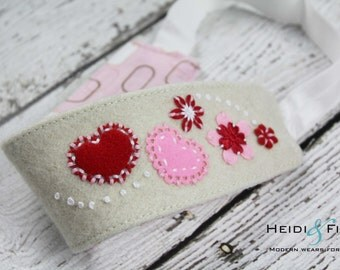 CLEARANCE Hearts embroidered Organic Hairband Headband felt OOAK 12M - teen/adult ready to ship red pink