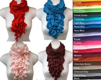 Cotton Jersey Multi Strand Ruffle Cowl Scarf All Colors