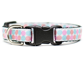"""Cat Collar - """"The Sweet Pea"""" - Pink, Red and Turquoise Polka Dots"""