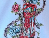 Cowgirl Boot with Roses Womans Style T Shirt Free Shipping to USA