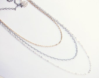 Multi-chain necklace Triple strand necklace Layered mixed metal necklace Everyday jewelry Silver and gold