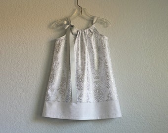 Girls Silver and White Party Dress - Metallic Silver on White - Silver Damask Party Dress - Size 12m, 18m, 2T, 3T, 4T, 5, 6, 8, or 10