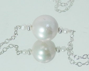 Sterling Silver and White Edison Pearl Necklace