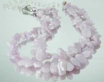 Double Strand Lavender Kunzite and Sterling Silver Statement Necklace