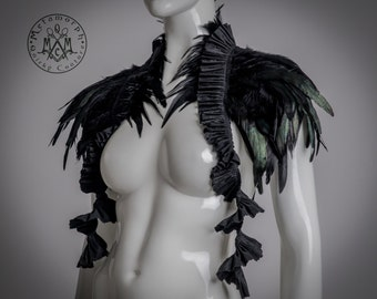 Steampunk / Black feather shrug / Feather collar / Feather peplum belt / Plumed bustle Multifunctional feather accessories / Burlesque Diva