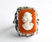 Vintage Uncas Silver Rhodium Coral and Ivory Cameo Ring - Carved Molded Celluloid - Adjustable