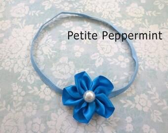 Baby Headband, Baby flower headband - Blue Baby Headband