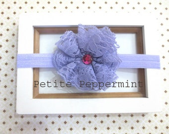 Lavender baby headband, toddler headband,light purple flower headband, newborn headband, baby hair bow
