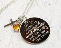 Proverbs 31 she is clothed in strength and dignity --- engraved biblical quote necklace