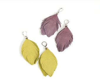 Leather feather earrings in lemon yellow  and suede leather earrings in smoky violet. Set of two pairs
