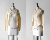 60's cream cardigan. 1960 knit sweater. open front top. bow. collar. lace. 60 ivory cardigan. xs.