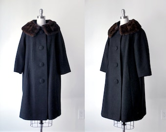 1960's wool coat. black coat. 60's winter coat. large. brown mink collar. 1960 fur coat.