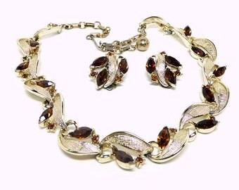 Lisner Necklace Earrings Set - Mad Men Demi Parure - Mid Century Modern Brown Rhinestones