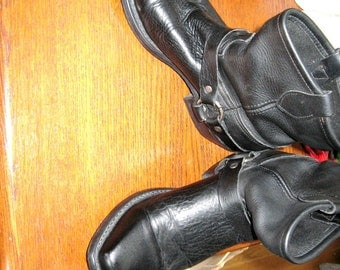 Motorcycle Boots / Black Biker Boots / Made In USA  Marked 9M / Black Leather Ankle Boots / Biker / Urban Cowboy