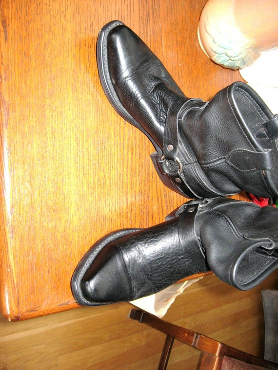 Motorcycle boots black biker boots made in usa marked 9m black
