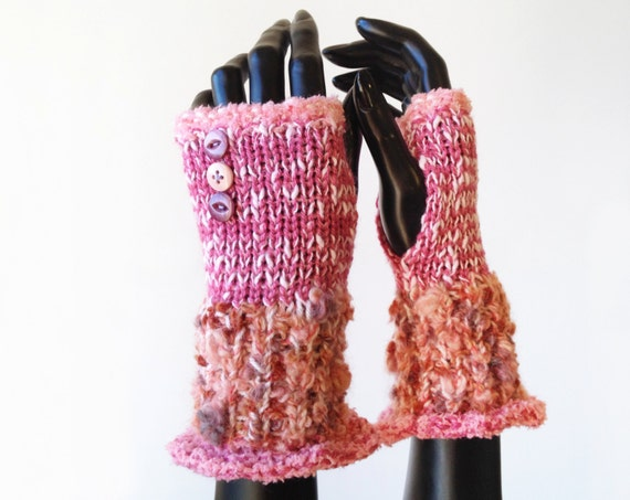 Strawberry Cheesecake Frilly Fingers - Pink Fingerless Gloves Warm Pink Hand Warmers