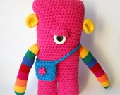 crocheted monster, toy monster, Amigurumi monster, pink plush monster, monster doll, rainbow monster, monster plushie, crocheted toy