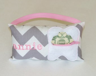 Bubble gum pink and gray chevron Personalized Kids Tooth Fairy Pillow