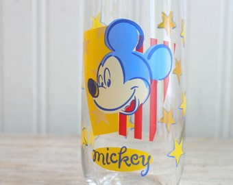 Retro Mickey Mouse Drinking Glass, Vintage Disney Glass,  Patriotic Mickey, 1970s Barware, Kitsch Kitchen, Yellow and Blue, Americana