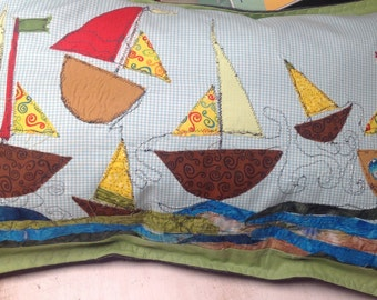 Art pillow case at the sea, appliqué Dots and Boats