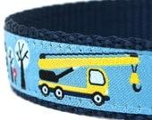 Construction Trucks Dog Collar, Ribbon Adjustable Pet Collar, Blue Boy Pet Collar