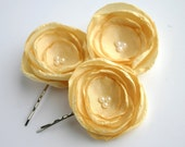 Yellow Flower Hair Pieces, Yellow Flower Hair Clip, Bridesmaid Hair Accessories, Yellow Bridal Flowers, Flower Hair Pins, Flower Girl Hair