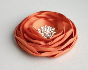 Orange Flower Hair Clip, Orange Flower Hairpiece, Bridal Headpiece, Bridesmaid Hair Piece, Floral Hair Accessory, Flower Girl Hair Pin