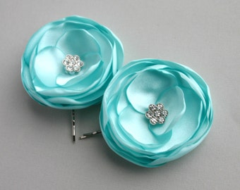 Aqua Flower Hair Accessory, Aqua Wedding Hair Clip, Aqua Flower Hair Pieces, Bridesmaid Hair Pins, Bridal Accessory, Flower Girl Hair Clip