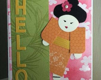 Geisha Girl Hello Card