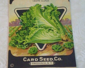 Card Seed Company, Lettuce seed packet, 1920's unused, Grand Rapids