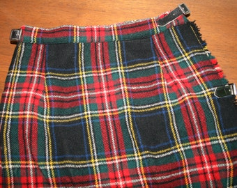 Vintage Scottish Highlands Wool Tartan Maxi Skirt / Size 24-25