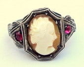 SALE, Sz 5.25, Antique, Hand Carved Cameo Ring, Coch Shell Cameo Ring, Vintage Cameo, Sterling Silver,Cameio Ring