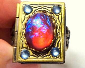 Dragon's Breath Locket Ring, Neo Victorian, Antiqued Brass Locket,Gothic Jewellry,Dark Metal Noir,Edwardian Fantasy,Steam Punk Goth