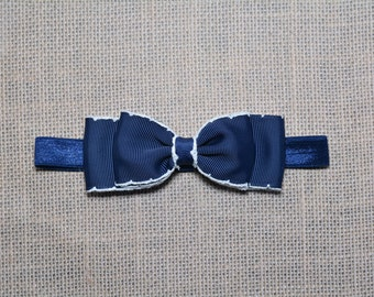 Navy Blue with White Stitching Bow Headband. Navy Baby Headband. Navy & White Baby Hair Accessories. Girls Hair Accessories. Fourth of July