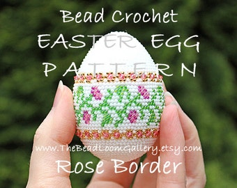 Easter Egg Pattern - Rose Border - Crochet PDF File TUTORIAL - Vol.7 with Swarovski Crystals
