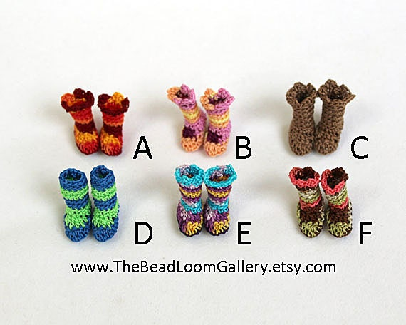 Miniature Dollhouse Booties - PukiPuki / RealPuki Size - 1 Pair of Small Size Crochet Shoes - You Choose