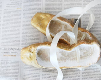 Handmade ceramic ballet shoes-Art object