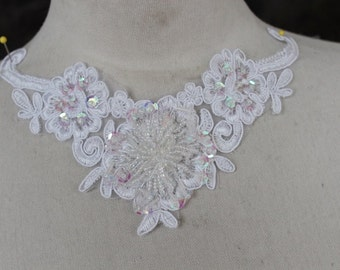 Cute embroidered  and beaded organza flower   applique  white   color 1  pieces listing