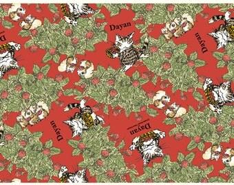 Cat Dyan cotton Oxford Red  - 50cm - Japanese - Japan fabric