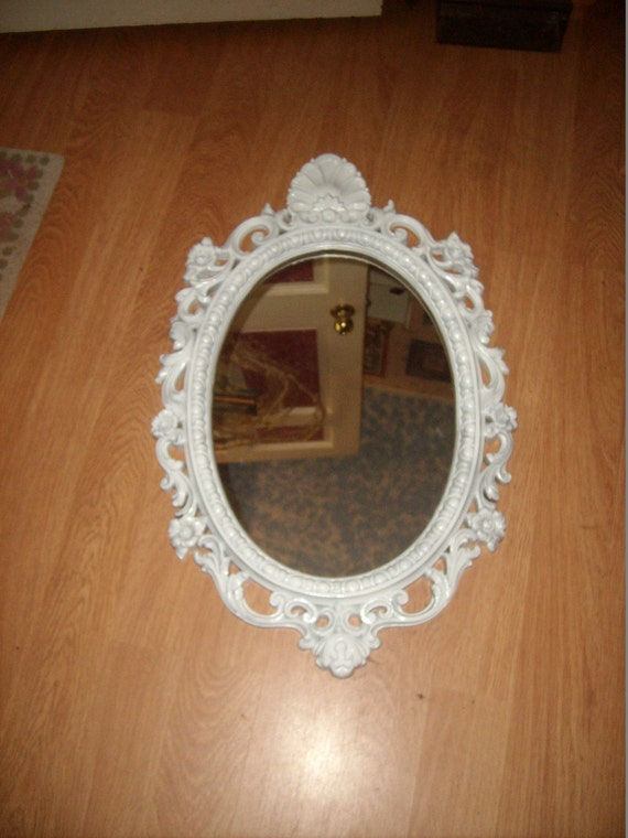 Large white painted plastic ornate baroque by for Plastic baroque mirror
