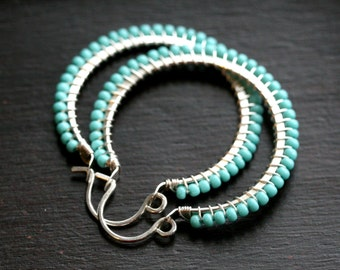 Turquoise colored Czech glass hoops, seed bead, aqua, blue-green, wire wrapped, Mimi Michele Jewelry