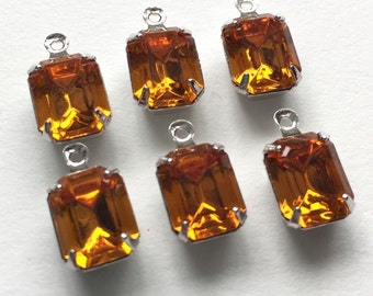 Swarovski Crystal Dangle Baguette Drops Prong Setting 8x10mm Topaz / Silver Rhodium