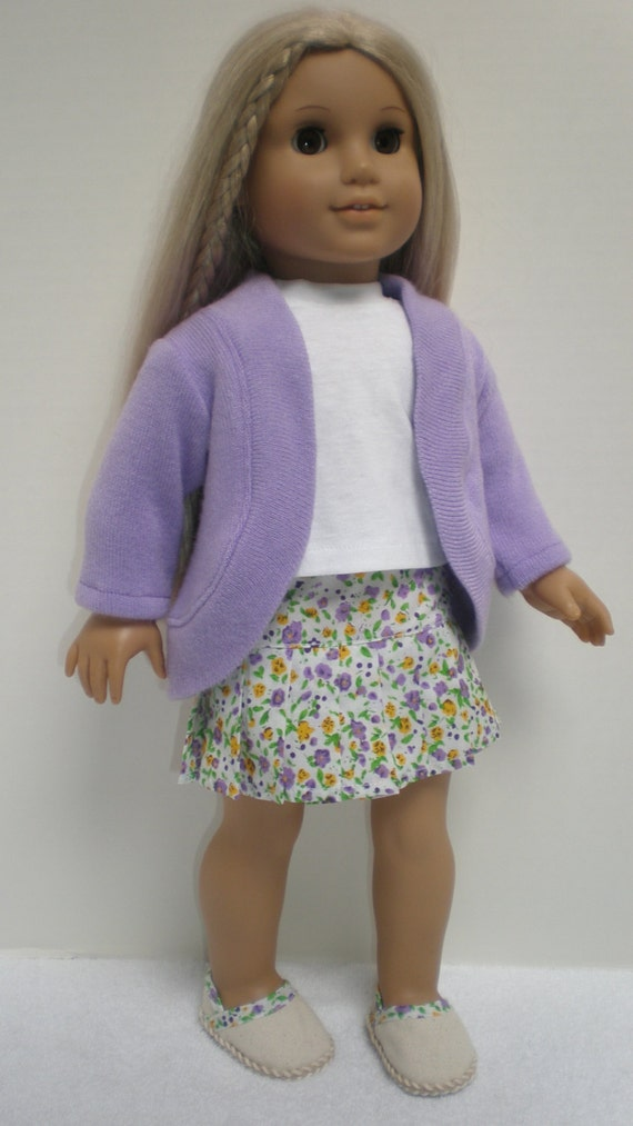 lavender sweater pleated skirt and espadrille set 18 inch