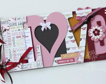 Love scrapbook, Wedding album, wedding gift, pink and red, wedding guestbook, Valentine's day gift, premade scrapbook, chipboard album -LV5