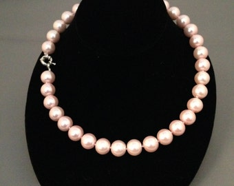 Pink south sea pearl necklace, 18 inches , 12MM, Silver plated clasp (23)