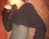 Black Ribbed SWEATER SHRUG