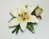 Vintage Porcelain Flower Figurine White Trillium Lily Lefton China